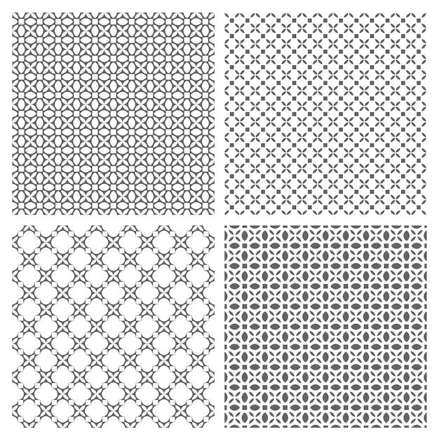 Quatro padrões sem costura monocromáticos em estilo oriental Vetor Premium