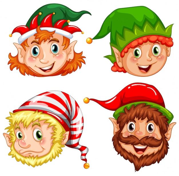 Quatro Personagens De Elfos De Natal Vetor Premium