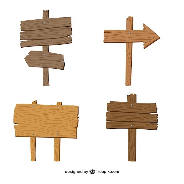 Quatro placas de madeira Vetor grátis