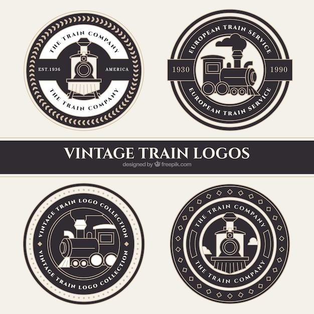 Quatro, redondo, trem, logotipos, vindima, estilo Vetor grátis
