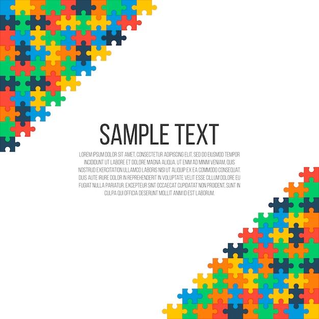 Quebra-cabeça colorido nos cantos da imagem. quadro abstrato brilhante, lugar para o seu texto. Vetor Premium