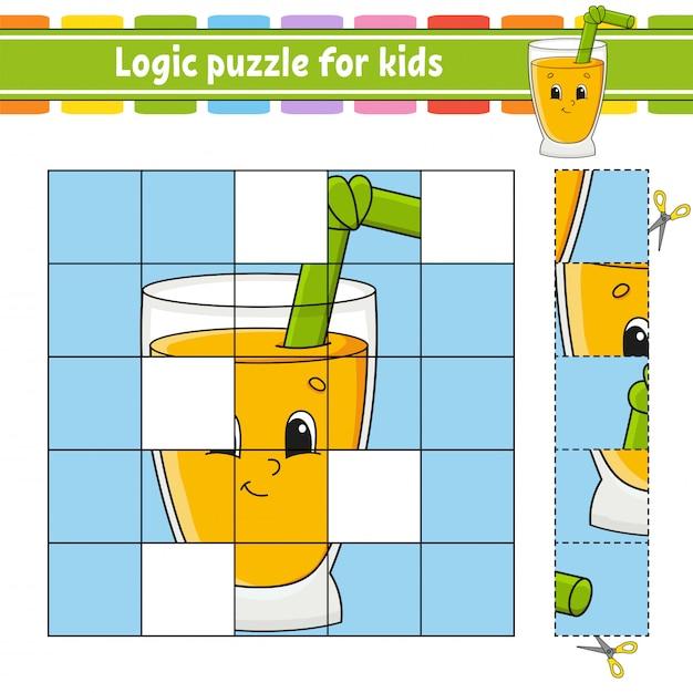 Quebra-cabeça de lógica para crianças. Vetor Premium