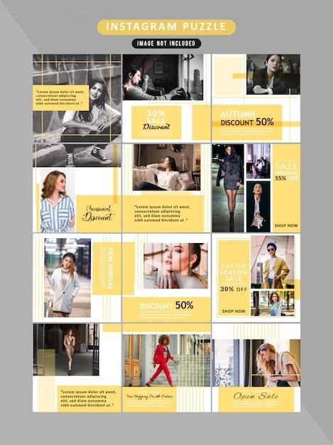 Quebra-cabeça de mídia social postar modelos Vetor Premium