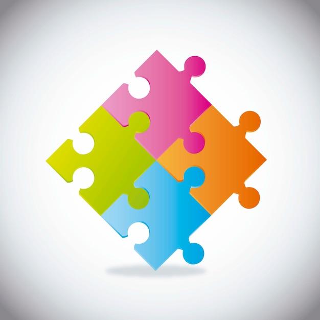 Quebra-cabeças coloridos com sombra Vetor Premium