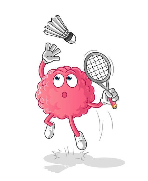 Quebra de cérebro no desenho animado do badminton. mascote dos desenhos animados Vetor Premium