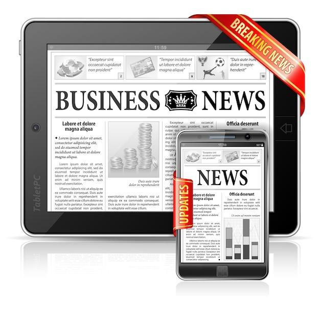 Quebrando o conceito da notícia - notícia do negócio do pc da tabuleta & do smartphone Vetor Premium