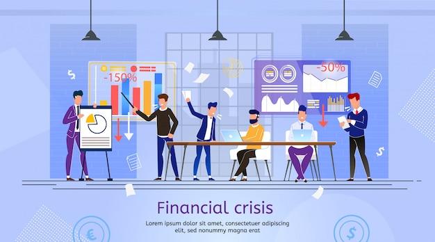 Queda de empresa em crise financeira Vetor Premium