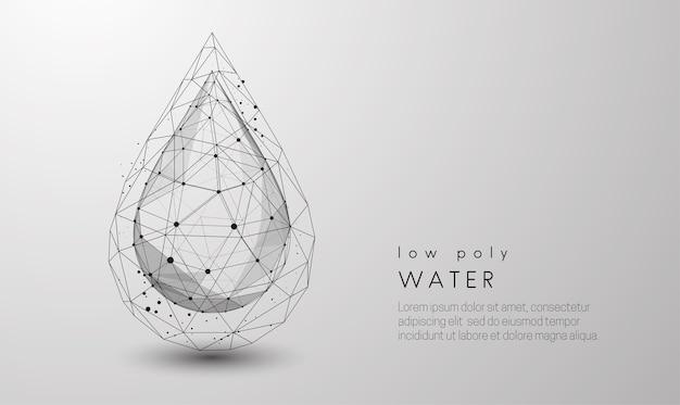Queda de gota d'água. design de estilo low poly. fundo geométrico abstrato. estrutura de conexão de luz wireframe. conceito moderno de preto e branco. ilustração isolada. Vetor Premium