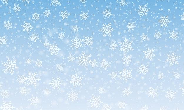 Queda de neve com flocos de neve. céu azul de inverno. textura de natal. fundo de neve cintilante. Vetor Premium