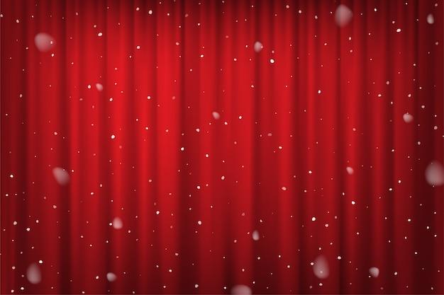 Queda de neve em modelo de cartaz de inverno cortina vermelha, cinema, teatro ou circo. Vetor Premium