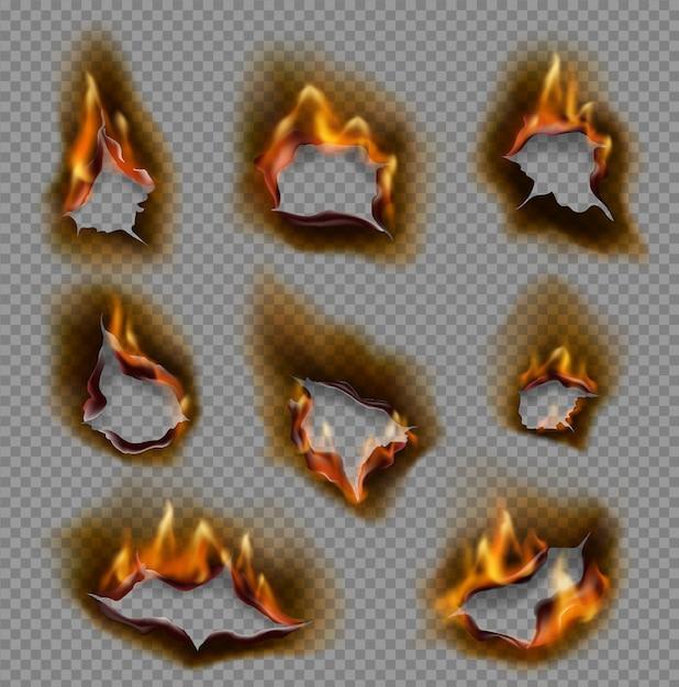 Queima de buracos de papel, chamas de fogo realistas Vetor Premium