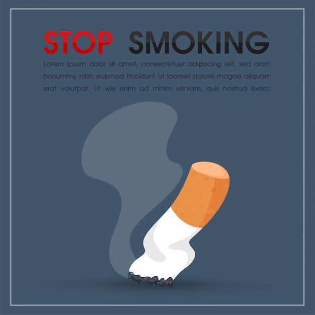 Queima de cigarros e fumaça Vetor Premium