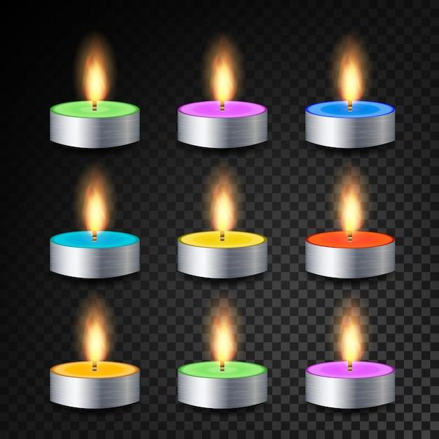 Queima de vetor realista 3d velas de jantar Vetor Premium