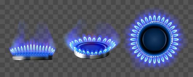 Queimador de gás com fogo azul na vista superior e lateral Vetor grátis