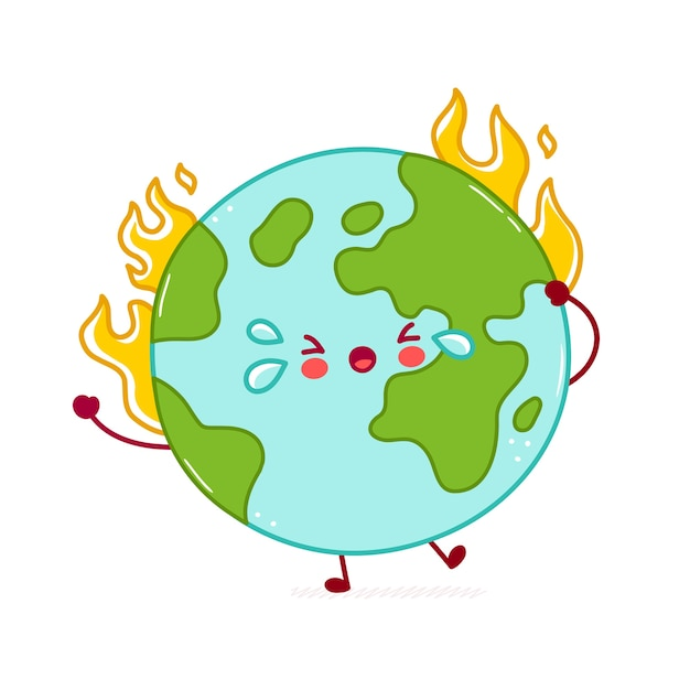 Vetor Premium Queimadura De Personagem Bonito Feliz Engracado Planeta Terra Desenho De Icone De Ilustracao De Personagem De Desenho Animado Isolado No Fundo Branco Conceito De Aquecimento Global
