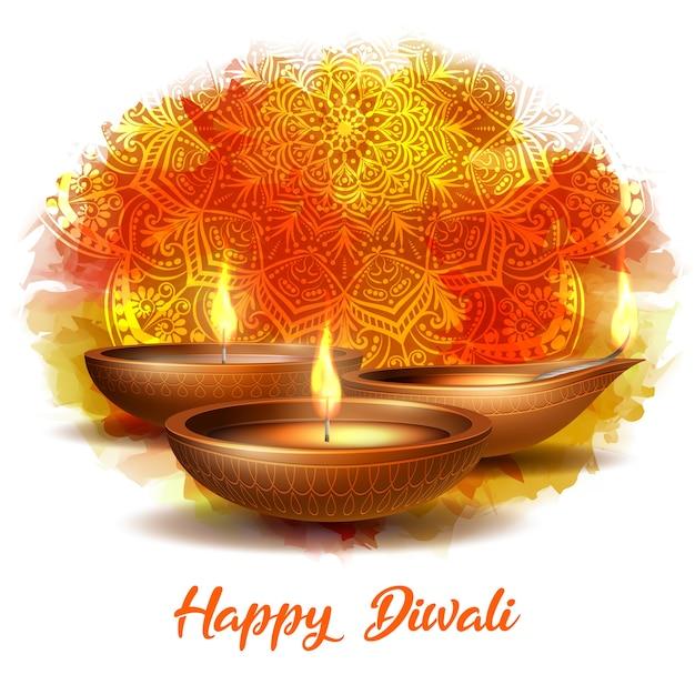 Queimando diya na ilustração do happy diwali holiday Vetor Premium