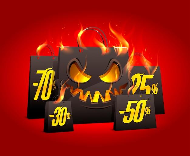 Queimando sacos de papel preto assustador com descontos por cento Vetor Premium