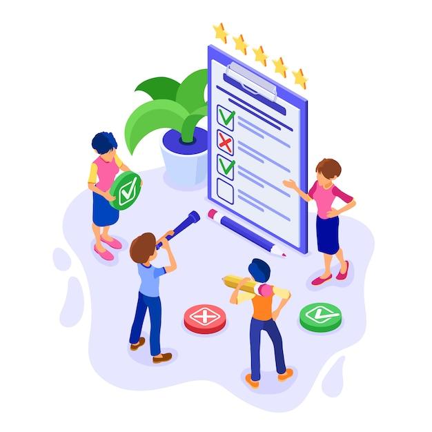 Questionário de pesquisa ou formulário de teste Vetor Premium