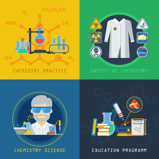 Química 2x2 design concept set Vetor grátis