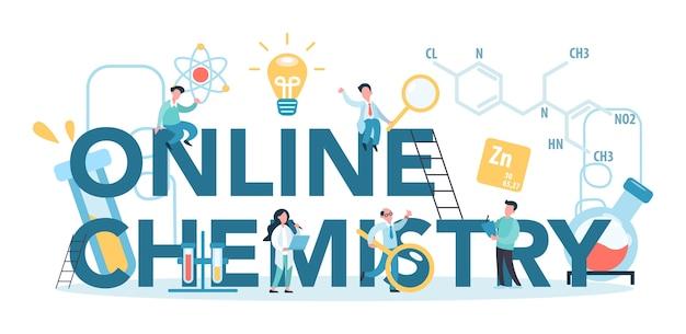 Química online estudando o conceito tipográfico. curso online ou webinar para o aluno. experiência científica em laboratório com equipamentos químicos. Vetor Premium