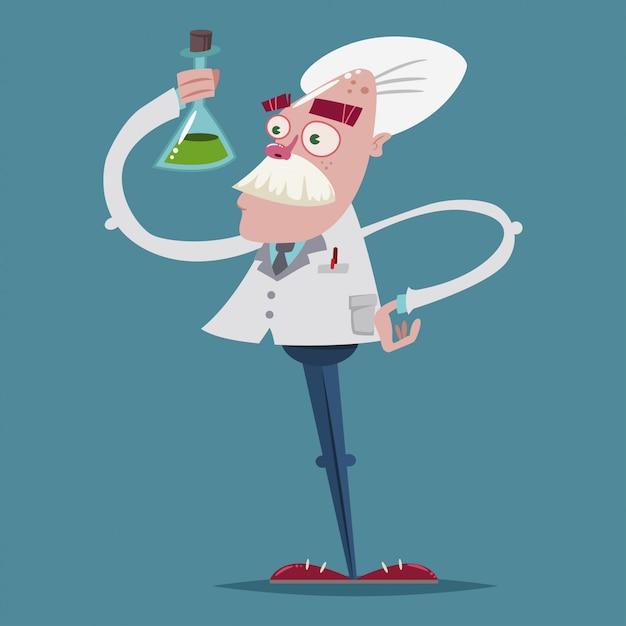 Químico cientista bonito em um terno de laboratório está segurando um tubo de ensaio de vidro na mão. personagem de desenho de vetor de um antigo professor. Vetor Premium