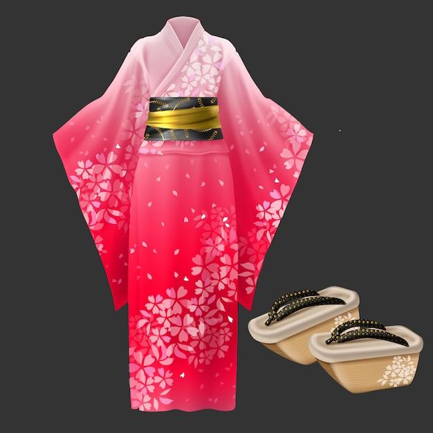 Quimono e geta, vestido de mulher japonesa yukata. Vetor grátis
