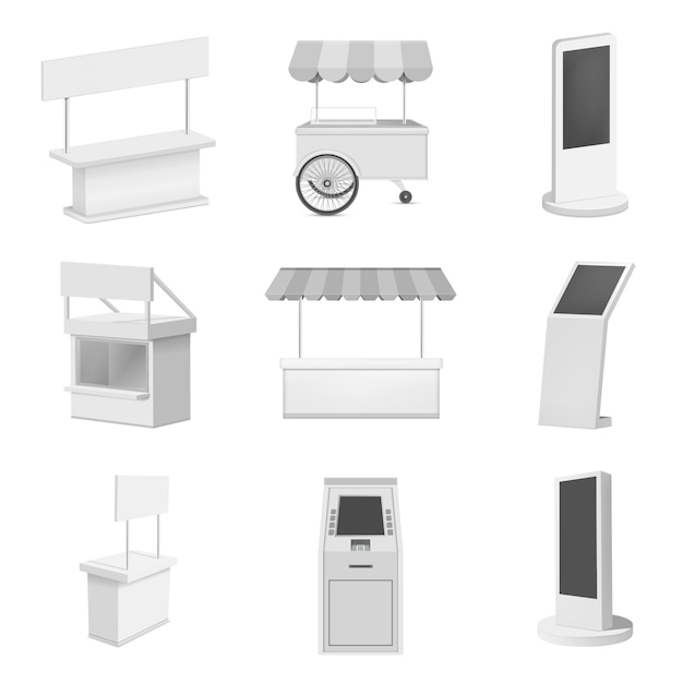 Quiosque stand conjunto de maquete de cabine. ilustração realista de 9 maquetes de cabine de stand de quiosque para web Vetor Premium