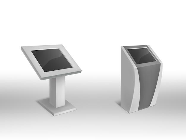 Quiosques 3d informativos digitais realísticos, signage digital interativo com tela vazia. Vetor grátis