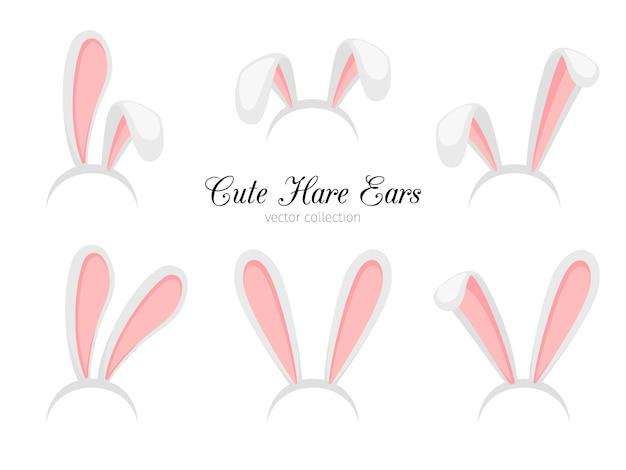R coelho de páscoa dos desenhos animados engraçados ou faixa de orelhas de coelho para o traje Vetor Premium