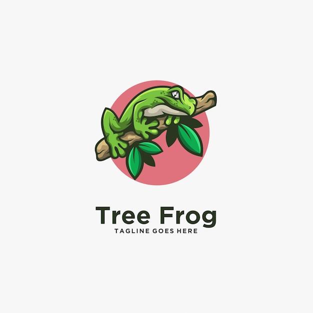 Rã pose ilustração logotipo linha arte Vetor Premium
