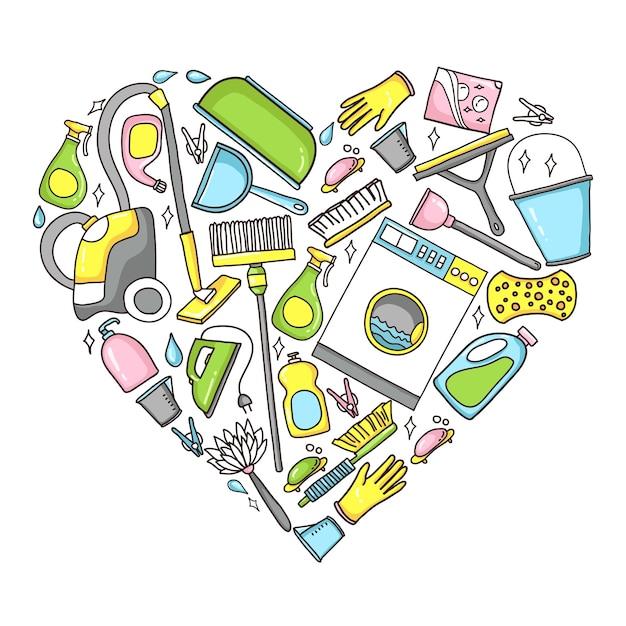 Rabiscar a ilustração do equipamento da limpeza em uma forma do coração. Vetor Premium