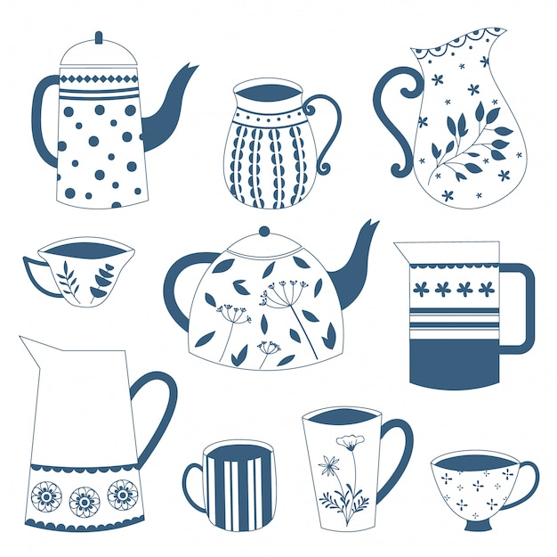 Rabiscar o bule e os copos azuis tirados mão da porcelana da porcelana. desenho vetorial. Vetor Premium