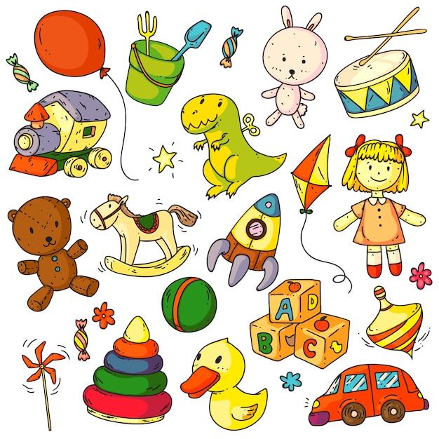Rabiscos de brinquedos. brinquedos para crianças engraçadas objeto conjunto de sinais de esboços. coelhinha, urso animal, balão, pato, carro, foguete, cavalo, bola, boneca, cubos abc jogo doodles elementos de coleção para bebês Vetor Premium