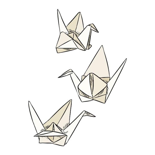Rabiscos de cisne de papel de origami. Vetor Premium