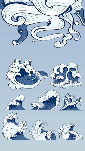 Rabiscos de onda japonesa Vetor grátis