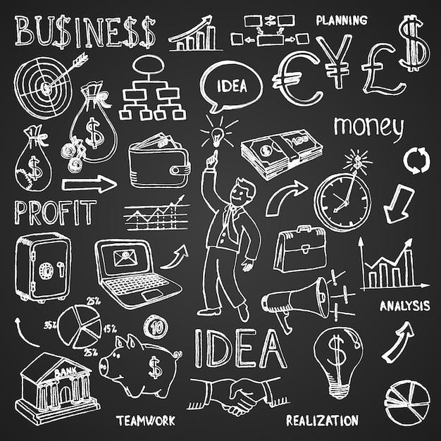 Rabiscos desenhados à mão de negócios em contorno branco em preto em um padrão denso e espalhado em formato quadrado com imagens e ilustração vetorial de texto Vetor grátis