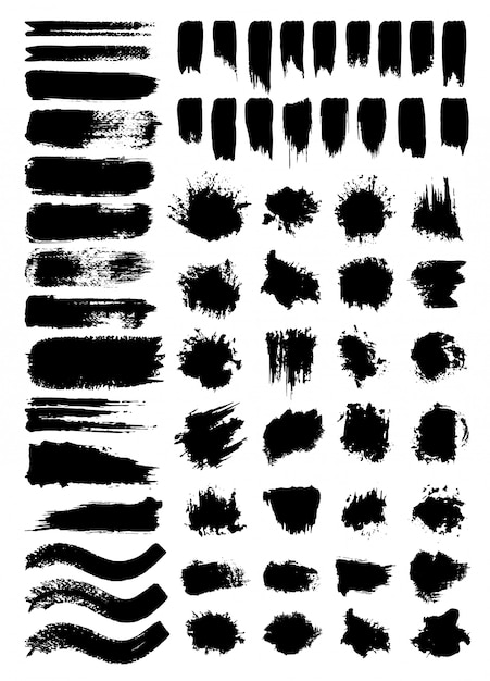 Rabiscos e borrões conjunto de ilustrações vetoriais Vetor grátis