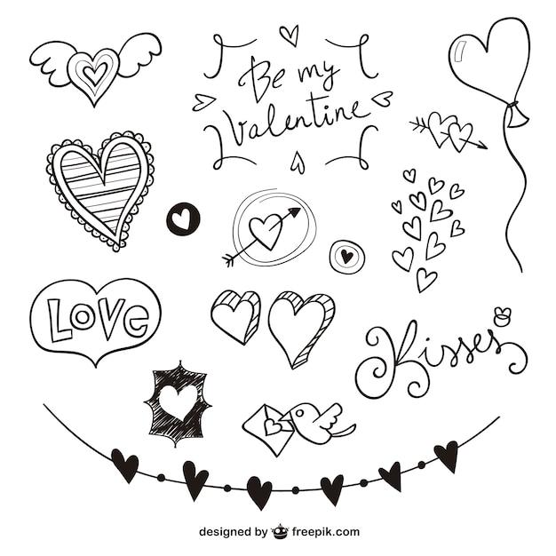 Rabiscos valentine embalar Vetor grátis