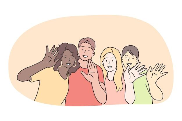 Raça mista, grupo multi étnico de amigos, conceito de amizade internacional. grupo de amigos sorridentes, personagens de desenhos animados de diferentes nacionalidades em pé e acenando com as mãos para a câmera juntos Vetor Premium