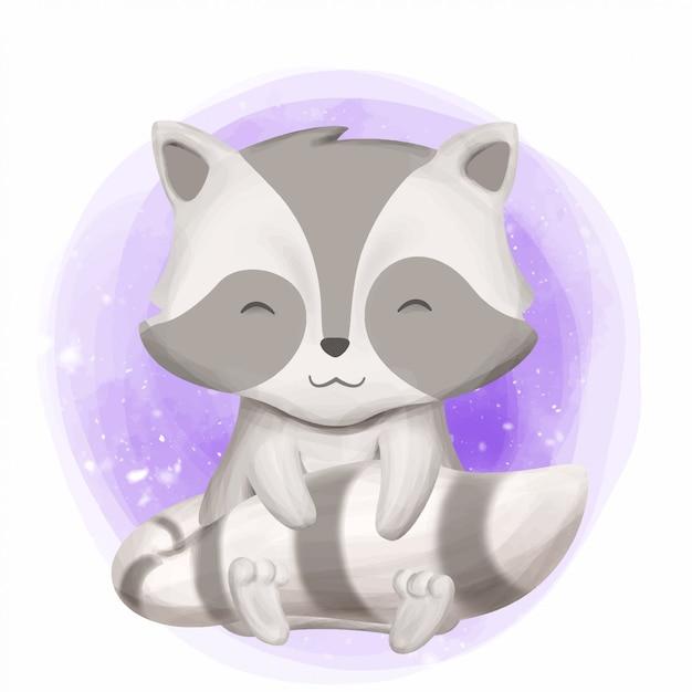 Raccoon de bebê fofo sorriso rosto Vetor Premium
