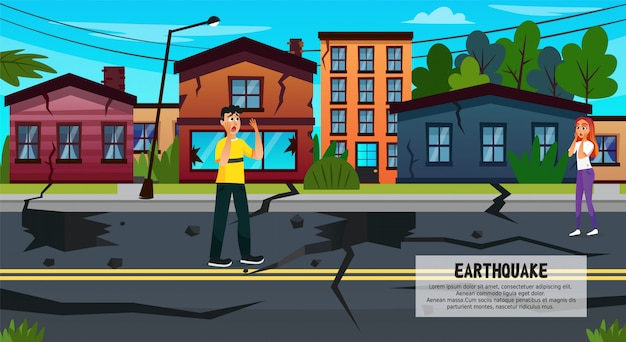 Rachadura na terra após terremoto, desastre natural Vetor Premium