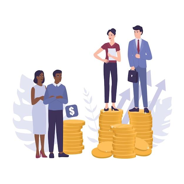 Racim. discriminação e tratamento desigual com base na raça. empresário e mulher de negócios em pilhas de moedas. pagamento desigual e problema de carreira de pessoas de cor. Vetor Premium