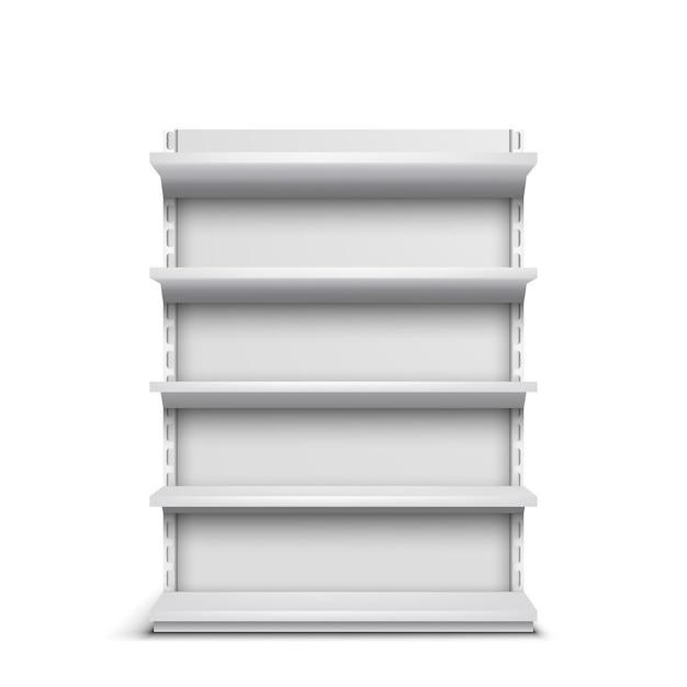 Rack de mercearia com prateleiras vazias 3d vector realista isolado no fundo branco Vetor grátis