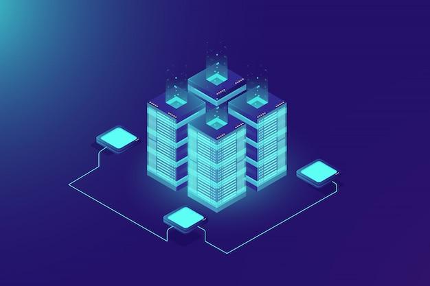 Rack de sala de servidores, tecnologia blockchain, token api access, data center Vetor grátis