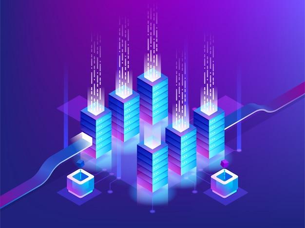 Rack para sala de servidores, tecnologia blockchain, acesso à api de token, data center, conceito de armazenamento em nuvem Vetor Premium