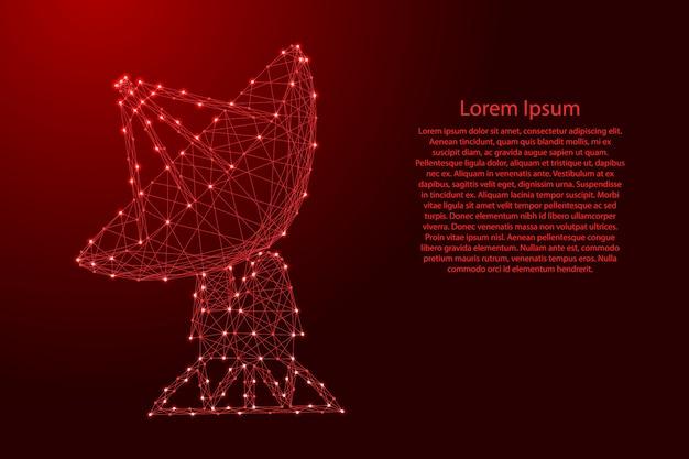 Radar espacial parabólico de antena parabólica com linhas vermelhas poligonais futuristas e modelo de estrelas brilhantes Vetor Premium