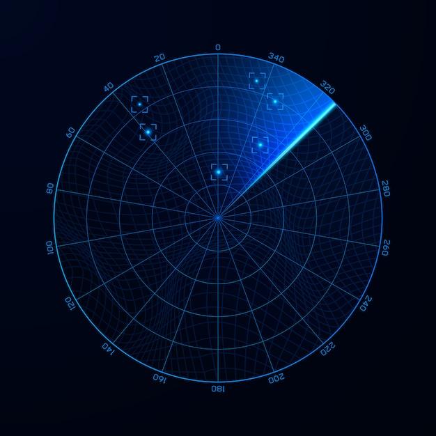 Radar na pesquisa. ilustração de blip do sistema de busca militar. alvo no pontinho. interface de navegação azul. vetor Vetor Premium