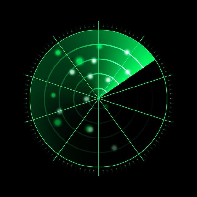 Radar verde isolado em fundo escuro Vetor Premium
