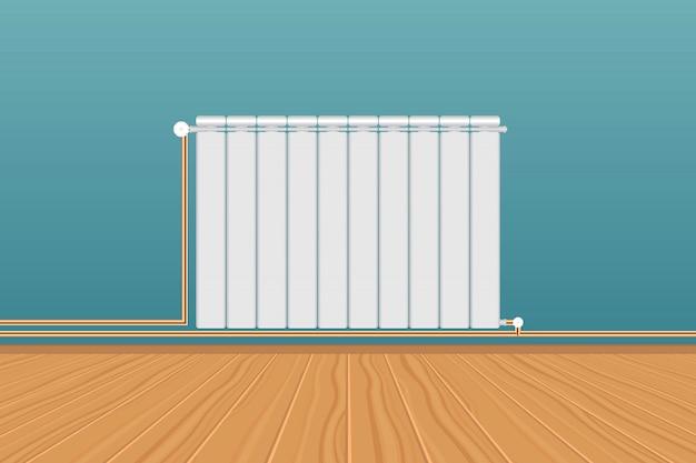 Radiador de aquecimento branco realista na parede azul Vetor Premium