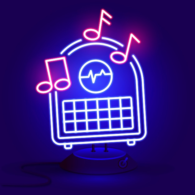 Rádio azul brilhante néon Vetor Premium